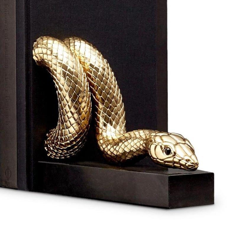 Snake Gold Bookend Set in Gold or Platinum Plated In New Condition For Sale In Paris, FR