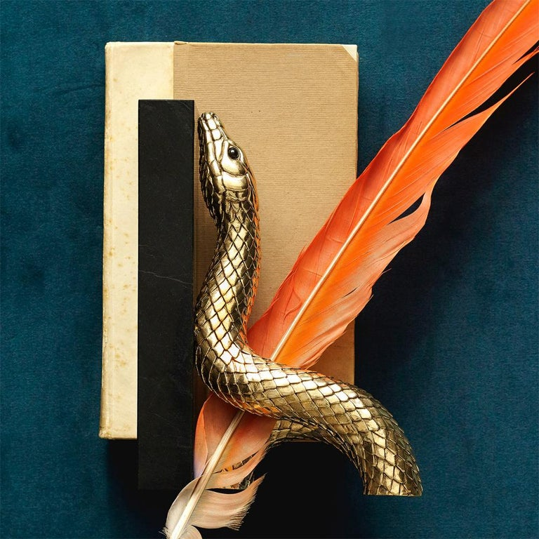Contemporary Snake Gold Bookend Set in Gold or Platinum Plated For Sale