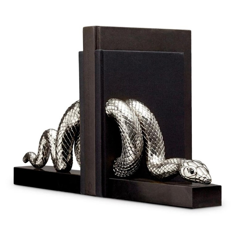 Snake Gold Bookend Set in Gold or Platinum Plated For Sale 1