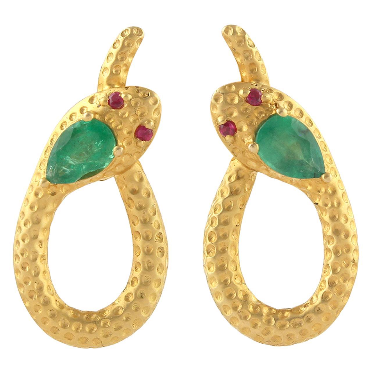 Snake Knot 18 Karat Gold Emerald Ruby Stud Earrings