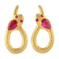 Snake Knot 18 Karat Gold Ruby Stud Earrings