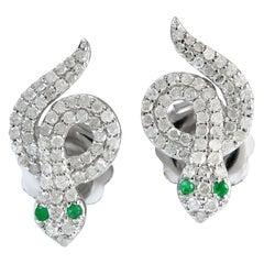 Snake Knot Diamond Emerald Stud Earrings