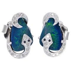 Snake Opal Diamond Stud Earrings