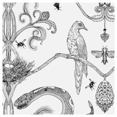 Snake Party in Black and White-Smooth Wallpaper with Hand Drawn Animals