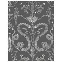 Snake Party in Charcoal-Smooth Wallpaper with Hand Drawn Animals