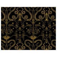 Snake Party in Gold on Black-Smooth Wallpaper with Hand Drawn Animals