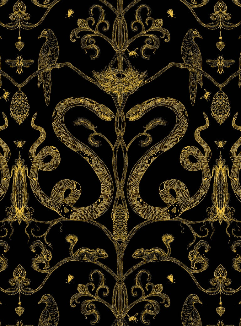 Modern Snake Party in Gold on White-Smooth Wallpaper with Hand Drawn Animals For Sale