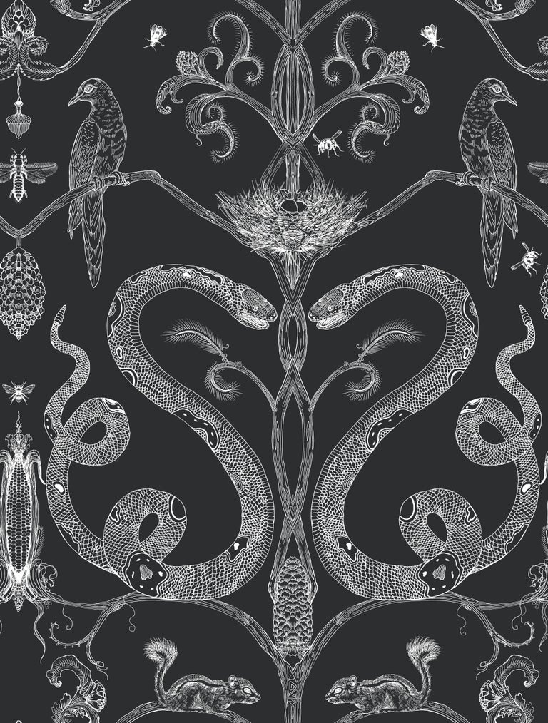 American Snake Party in Gold on White-Smooth Wallpaper with Hand Drawn Animals For Sale