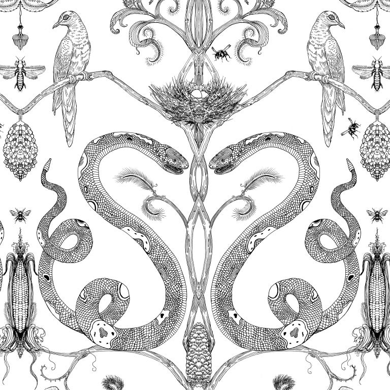 Paper Snake Party in Gold on White-Smooth Wallpaper with Hand Drawn Animals For Sale