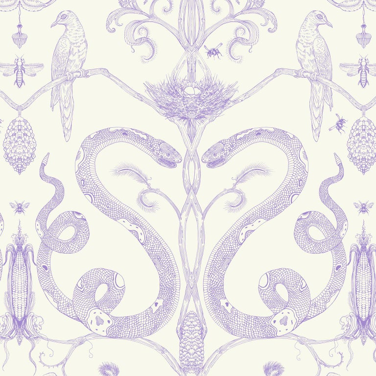 Snake Party in Gold on White-Smooth Wallpaper with Hand Drawn Animals For Sale 1