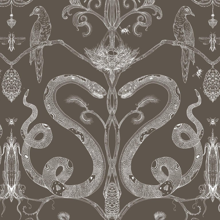 Snake Party in Gold on White-Smooth Wallpaper with Hand Drawn Animals For Sale 2