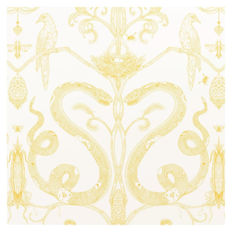 Snake Party in Gold on White-Smooth Wallpaper with Hand Drawn Animals For Sale