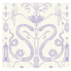 Snake Party in Lilac on Cream, Smooth Wallpaper with Hand Drawn Animals