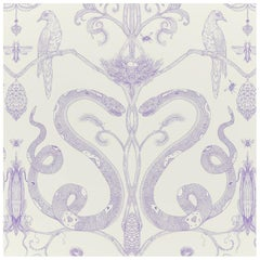Snake Party in Lilac on Cream-Smooth Wallpaper with Hand Drawn Animals