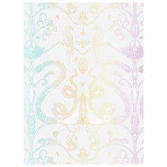 Snake Party in Rainbow Pastel-Smooth Wallpaper with Hand Drawn Animals