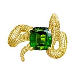 Snake Ring 4 Carat Intense Green Natural Tourmaline 18 Karat Yellow Gold