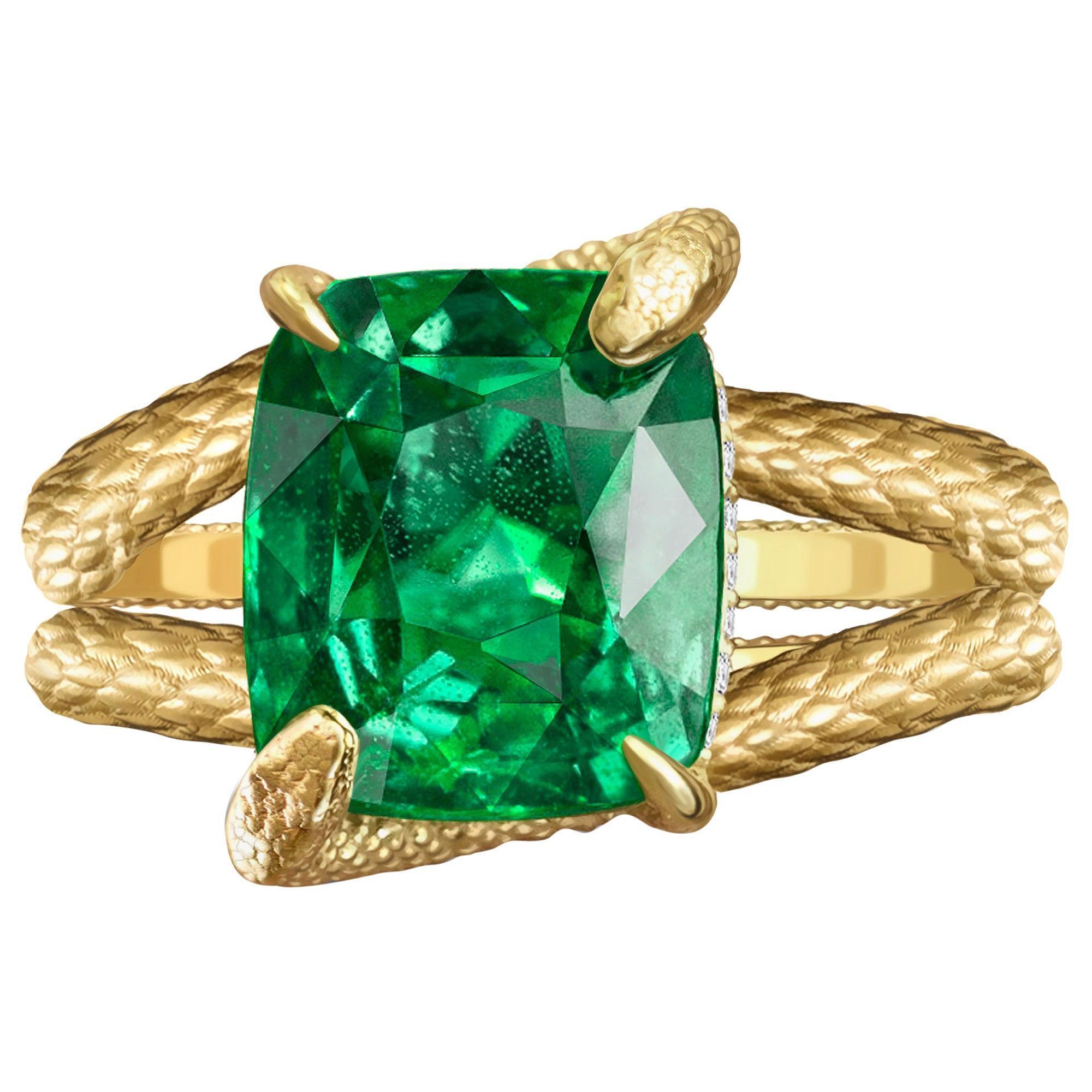 Snake Ring 6 Carat Intense Green Natural Tsavorite 18 Karat Yellow Gold