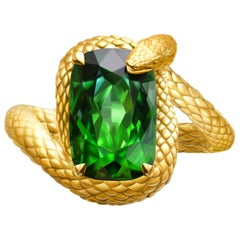 """Snake"" Ring 6.6 Carat Intense Green Tourmaline 18 Karat Yellow Gold"