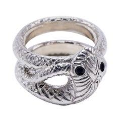 Snake Ring  Black Diamond Sterling Silver Cocktail Ring J Dauphin