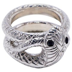 Snake Ring Silver Cocktail Ring Black Diamond Victorian Style J Dauphin