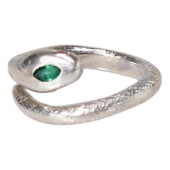 Snake Ring Sterling Silver Cocktail Style Emerald Ruby J Dauphin
