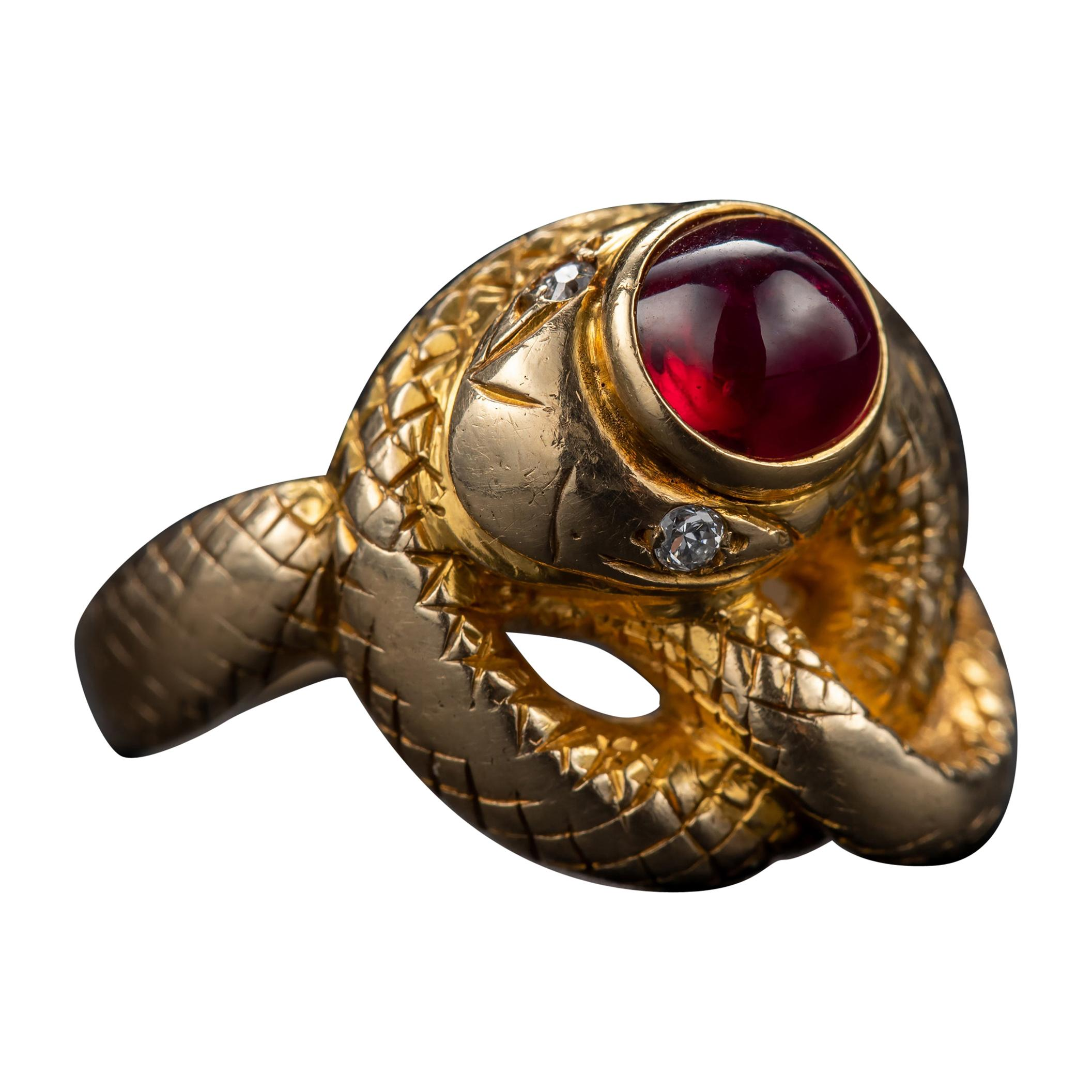Snake Ring with No-Heat Burma Ruby Certified
