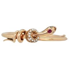 Snake Serpent Bracelet Ruby Head Pearl Collar 18 Karat