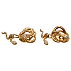 Snake Serpent Cufflinks Highly Detailed Etched 14 Karat Yellow Gold