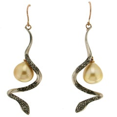 Snake Silver and Gold Diamonds Pearls Drop Earrings