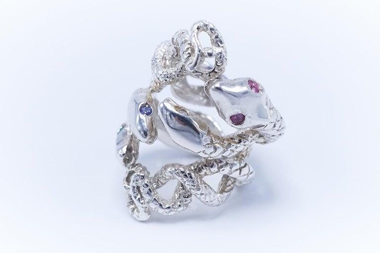 2 pcs Emerald 2 pcs White Diamond 2 pcs Pink Sapphire 2 pcs Tanzanite Snake Silver Ring Open Adjustable J Dauphin  J DAUPHIN