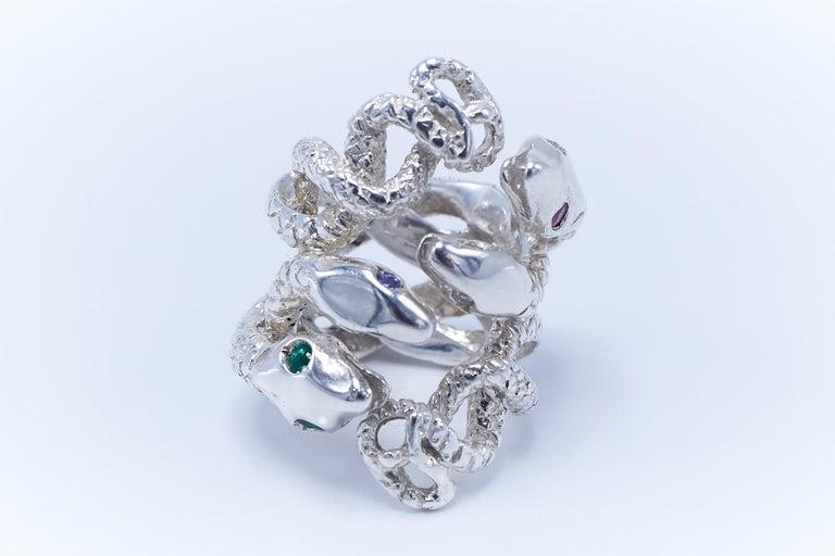 Contemporary Emerald White Diamond Pink Sapphire Tanzanite Snake Silver Ring J Dauphin For Sale