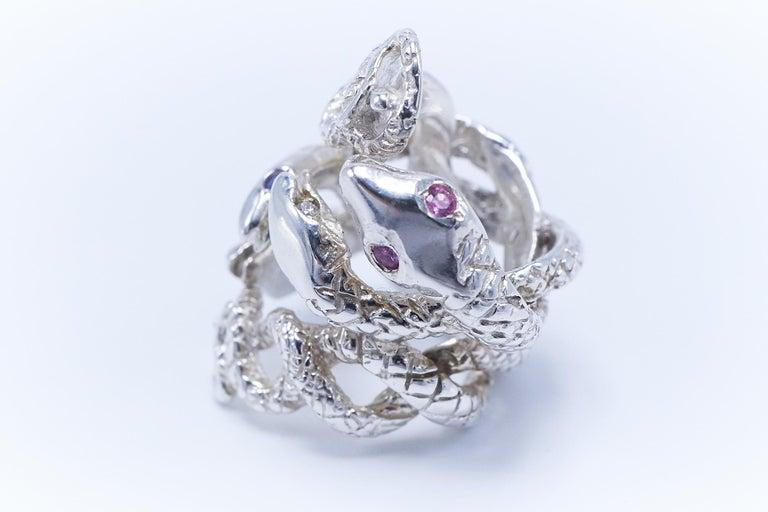 Round Cut Emerald White Diamond Pink Sapphire Tanzanite Snake Silver Ring J Dauphin For Sale