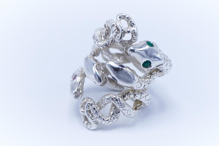 Emerald White Diamond Pink Sapphire Tanzanite Snake Silver Ring J Dauphin In New Condition For Sale In Los Angeles, CA