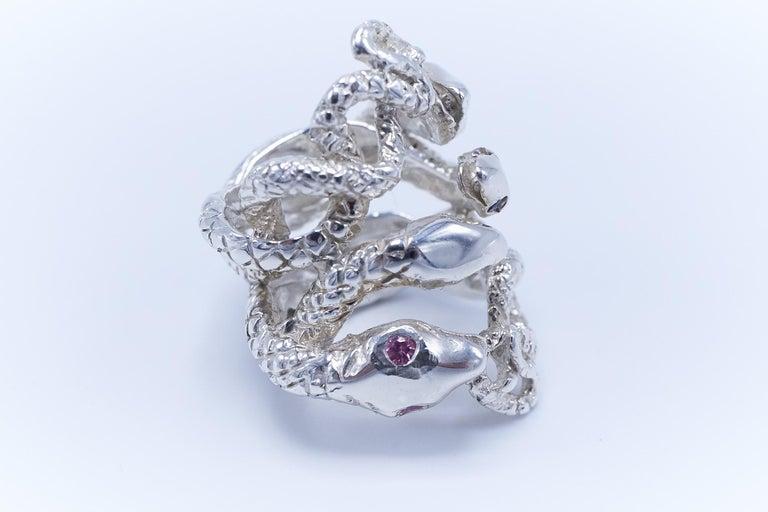 Women's Emerald White Diamond Pink Sapphire Tanzanite Snake Silver Ring J Dauphin For Sale