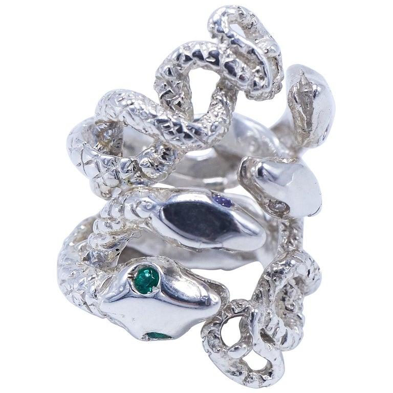 Emerald White Diamond Pink Sapphire Tanzanite Snake Silver Ring J Dauphin For Sale