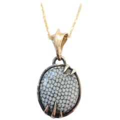 Snake Skin Fossil Pendant in Silver and 14 Karat Yellow Gold