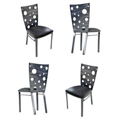 Snake Skin Vinyl Brutalist Style Dining Chairs by Johnston Casuals Furniture
