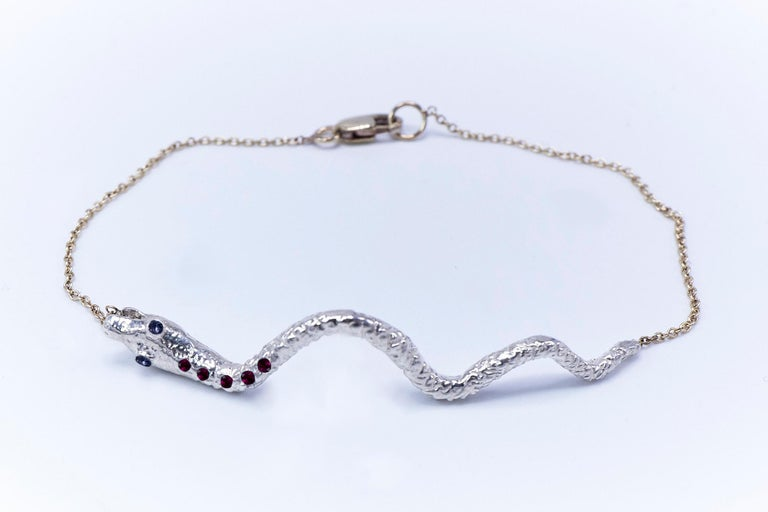 Contemporary Snake Bracelet Sterling Silver Ruby Tanzanite Animal Jewelry J Dauphin For Sale