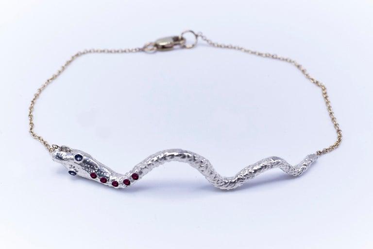Brilliant Cut Snake Bracelet Sterling Silver Ruby Tanzanite Animal Jewelry J Dauphin For Sale