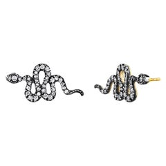 Snake Studs with Pave Diamonds and 22k Gold