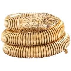 Snake Tubogas Yellow Gold 18 Karat Serpenti Bracelet