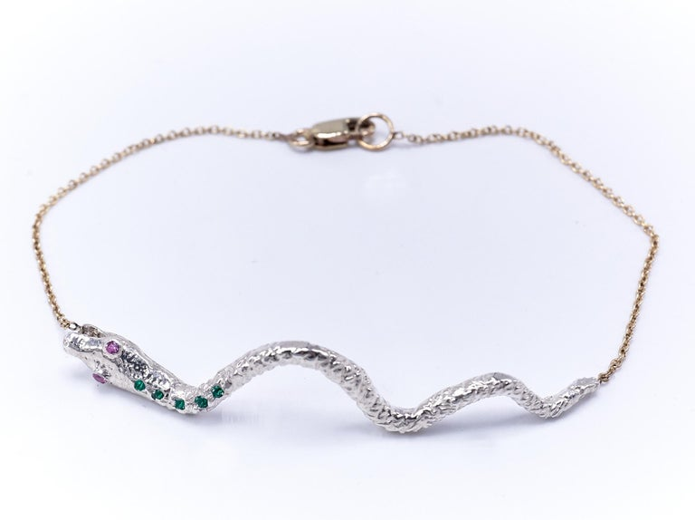 Round Cut Emerald Pink Sapphire White Gold Snake Pendant Gold Chain Bracelet  For Sale