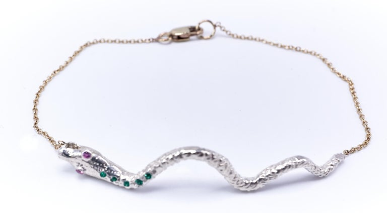 Emerald Pink Sapphire White Gold Snake Pendant Gold Chain Bracelet  For Sale 1