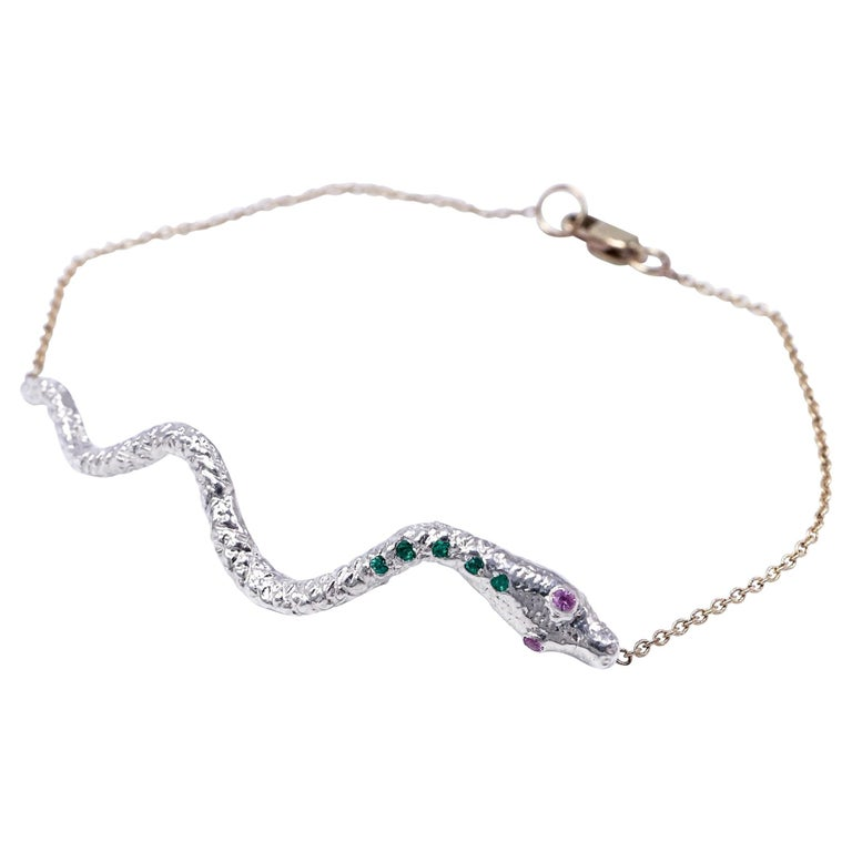 Emerald Pink Sapphire White Gold Snake Pendant Gold Chain Bracelet  For Sale