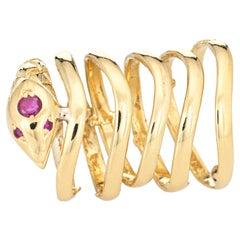 Snake Wrap Ring 6 Bands Vintage 18k Yellow Gold 5 Serpent Fine Estate Jewelry
