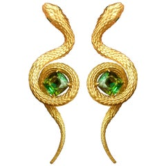 """Snakes"" Earrings 6.5 Carat Intense Green Tourmaline 18 Karat Yellow Gold"