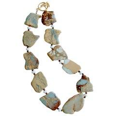 Snakeskin Jasper Amazonite Fossil Coral Necklace, Jessa II Necklace
