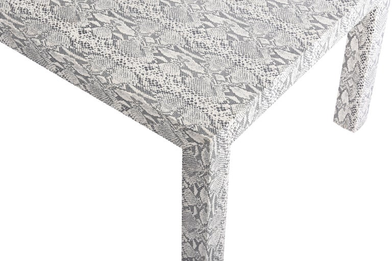 Mid-Century Modern Snakeskin Parsons Lamp Table, 1970 For Sale