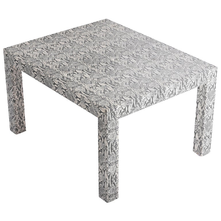 Snakeskin Parsons Lamp Table, 1970 For Sale