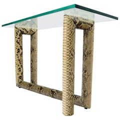 Snakeskin Wrapped Base Glass Top Console Sofa Table